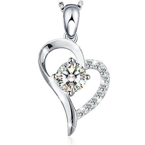 Kette Damen, 925 Echt Silber Halskette 5A Zirkonia Herz Diamant Anhänger Schmuck