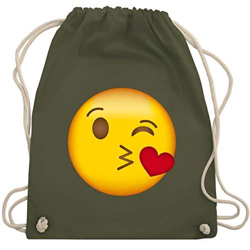 Kostüm Kiss Jahreszeiten - Comic Shirts - Emoji Kuss-Mund - Unisize - Olivgrün - WM110 - Turnbeutel & Gym Bag