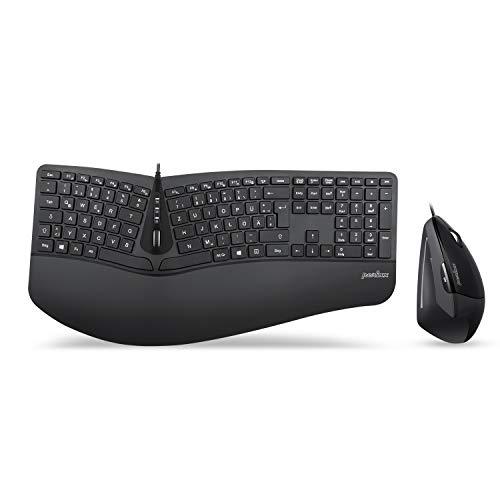 Perixx Periduo-505, Ergonomische Tastatur und Vertikale Maus Desktop Set, Geteiltes Tastenfeld, 4-Wege-Scrollrad, Anpassbare Handballenauflage, Flache Tasten, USB-Kabelgebunden