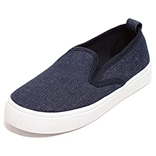 Zapato  Unisex Sneaker Slipper Freizeitschuhe Slip on Skater Schuhe Low-Cut für Mädchen Jungen Dark Denim Blue Gr.28-32 (32)