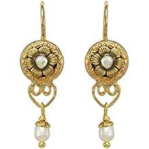 Michal Golan Pendientes de oro rosa con cabujones, perlas y cristales de Swarovski, oro de 24 quilates galvanizado