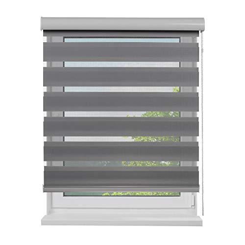 Doppel-Rollo mit Aluminium-Kassette, 80 x 180 cm (BxH), Farbe Grau, lichtdurchlässig u. blickdicht, Sichtschutz, Sonnenschutzrollo, Rollos für Fenster, Doppelrollo mit Blende in Weiß für Innen-Bereich