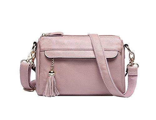 Genda 2Archer Kleine Handtasche Doppelte Reißverschluss Beutel Crossbody Tasche für Frauen Pink