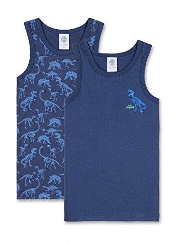 Sanetta Jungen Unterhemd 334070, Washed blu, 104 Blu-tangas