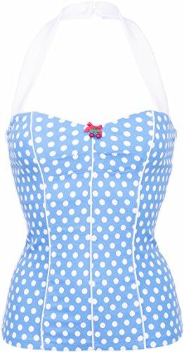 Küstenluder FAITH Polka Dots PUNKTE Cherry Pin Up Neckholder TOP Rockabilly Himmelblau mit weißen Punkten