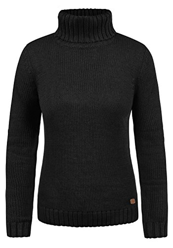 DESIRES Pia Damen Strickpullover Pulli mit Rollkragen aus hochwertiger Baumwollmischung Meliert, Größe:S, Farbe:Black (9000) (Baumwolle Rollkragen Gerippt)