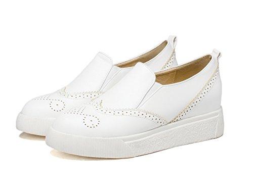 AgooLar Femme Tire Rond à Talon Bas Pu Cuir Couleur Unie Chaussures Légeres Blanc