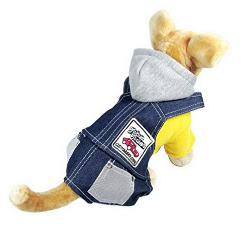 ranphy Kleine Hunde/Welpen Jumpsuit Kapuzenpullover Denim Hose Chihuahua Kleidung Winter Jeans Hund Overalls Fleece Outfits Sweatshirt Beagle-fleece-sweatshirt