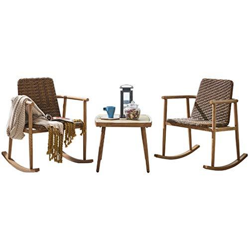 Vintage Patio Stühle (Schaukelstuhl im Freien, Rattan-Verdickungskissen-Patio-Lounge-Sessel - Zwei Stühle, eine Tabelle)
