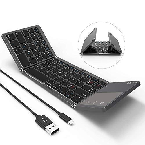 Clavier Tri-Pliable Jelly Comb Clavier Bluetooth Sans Fil et Filaire 2 en 1 avec Pavé Tactile AZERTY Rechargeable Portable pour Ordinateur Smartphone Tablette-Gris Foncé