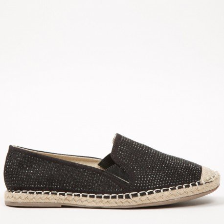 Ideal Shoes - Espadrilles à strass Mirella Noir