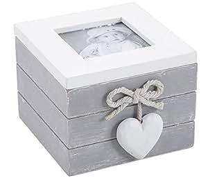 Coffret boite à bijoux en bois avec porte-photo