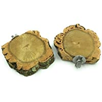 Vitezza Set of 2) Seat Board in Natural Cork Bark including Mounting Material Made Of High Quality Stainless Steel, Ideal for budgies, cockatiels etc. (AT0041)