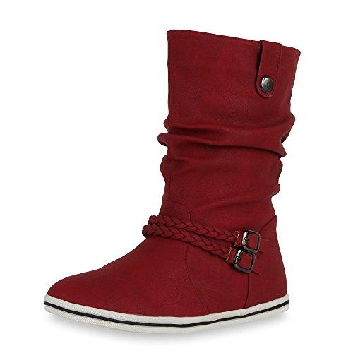 Sportliche Damen Stiefeletten Stiefel Flache Boots High & Low Top Damen STIEFELETTEN DUNKELROT HIGH 39 (Kostüme Sportliche)