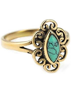 WINDALF Ring ~ NORI ~ h: 1.3 cm - Türkis - Bronze (rb622)