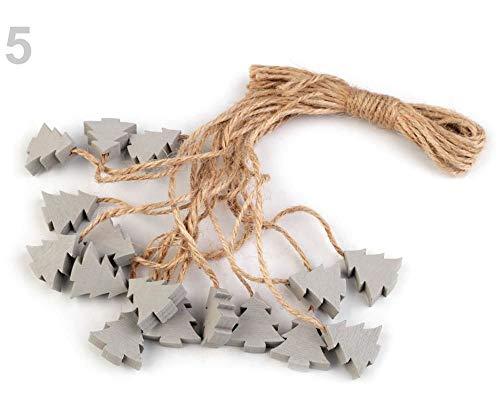 16stück 5 Taubengrau Ezüst Schneeflocke, Baum, Stern Aus Holz Mit Schnürchen, Dekoration, Metall, Und Glas (Dekorationen Schnur Schneeflocke)