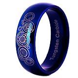 ZBNN Anillo Anillo de Anillo de Boda de cúpula Azul para Hombres de carburo de tungsteno Anillo de diseño de Doctor Who para Mujer Anillo de Fiesta de Banda de Compromiso de Ajuste cómodo, Azul, 14