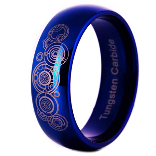 ZBNN Ring Wolframcarbid Männer Blue Dome Ehering Ring Doctor Who Design Ring für Frauen Comfort Fit Engagement Band Party Ring, Blau, 10 -