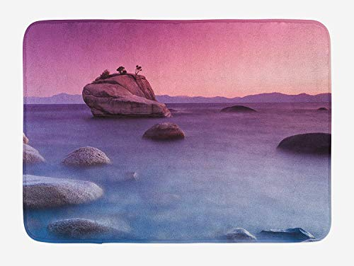 OQUYCZ Lake Bath Mat, Bonsai Rock Floating on Misty Lake Habitat Exquisite Wonders Dreamy Space Landscape, Plush Bathroom Decor Mat with Non Slip Backing, 23.6 W X 15.7 W Inches, Pink Blue Wonder Mold