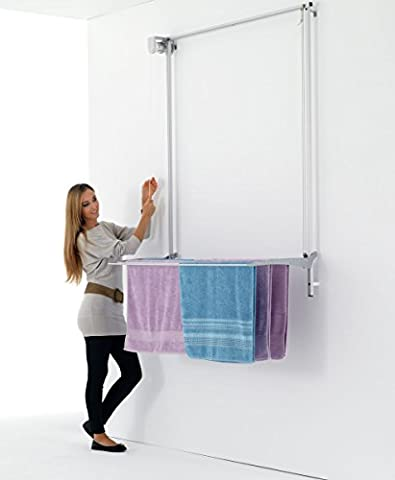 Wall Mounted Pulley Clothes Airer, Clothes Drying Rack, Airer Foxydry Wall 120, Vertical Drop Down Laundry Drying Rack