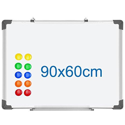 SIENOC Whiteboard Magnetwand mit Alurahmen Magnetisch Whiteboard und Magnettafel Weiß lackiert (1 Stück 90 * 60cm)