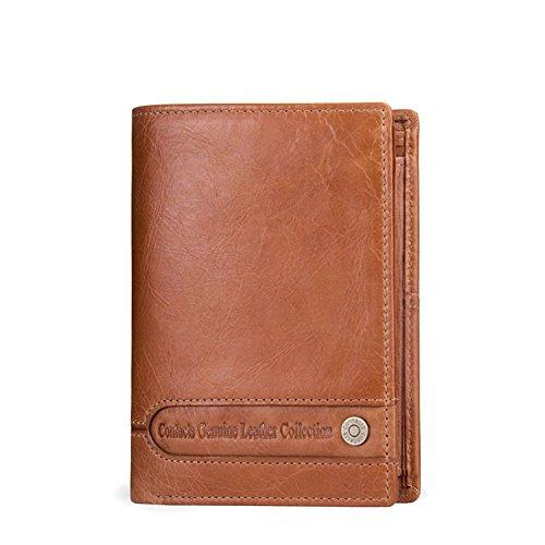 Boombee-bag Herrenbrieftasche Dreißig Prozent echtes Leder Kurze Absatz sowohl Männer und Frauen Brieftasche einfache praktische Shopping-Trip Business Casual tägliche Clutch (Farbe : Braun)