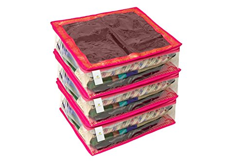 Homestrap Large Saree/Lehenga Cover/Wardrobe Organizer-Brocade (Store upto 8 to 10 Sarees) - Pink - Set of 3  available at amazon for Rs.449