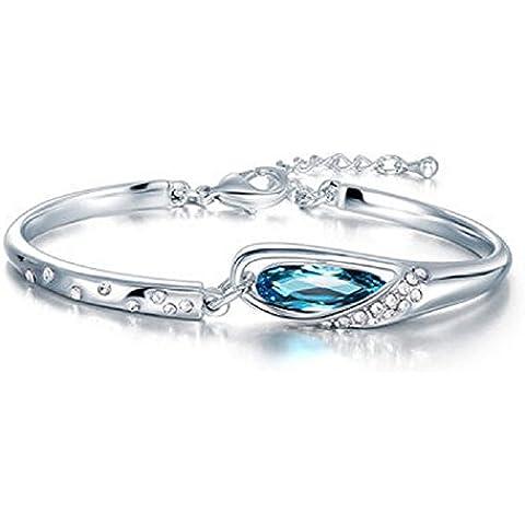 Bling Jewelry–Orecchini da donna placcato oro 18Sparkle con cristallo viola/blu pieghevole Stretched braccialetti