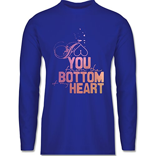 Shirtracer Statement Shirts - I Love You From The Bottom of My Heart - Herren Langarmshirt Royalblau