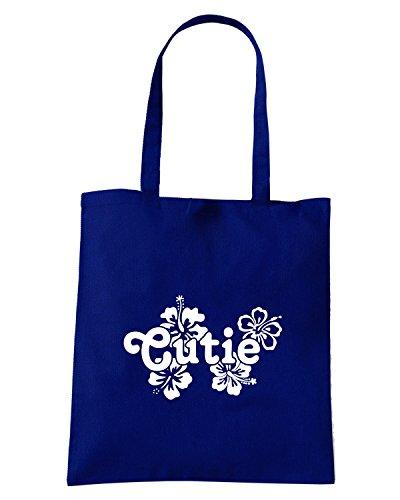 T-Shirtshock - Borsa Shopping FUN1135 cutie with flowers decal 85239 Blu Navy