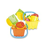 Castle Beach Bucket Set with Spade, Scoop, Watering Can and Sand Moulds - Colours May Vary