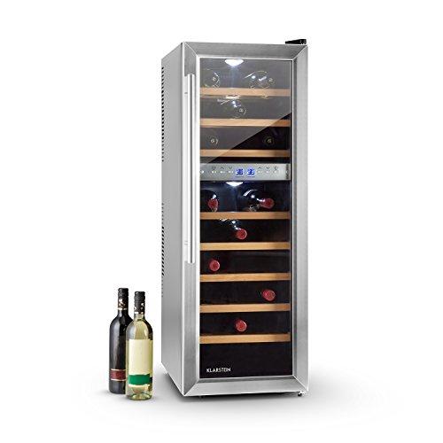 Klarstein Reserva 27D • Cantinetta Vino • frigorifero per vini • 27 bottiglie • 2 zone programmabili • Volume 76 L • 140 W • 8 ripiani estraibili • Classe C • LED • Schermo LCD • Colore Nero/Argento