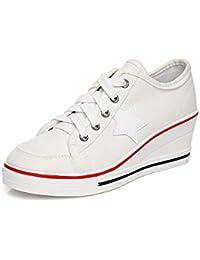 5a4fdfc35f0c Zetiy Femme Baskets Mode en Toile Talon Compensé Chaussures de Sport  Sneakers Tennis Chaussure Basse Taille