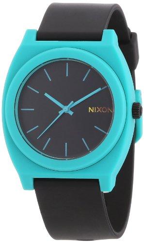 nixon-mens-quartz-watch-the-time-teller-p-black-teal-a1191060-00-with-rubber-strap