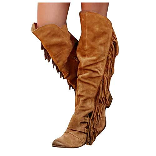 Strungten Damen Stiefel Fransenstiefel Langschaft Stiefel Erhöhen Sie Plattform Stiefel Motorrad-Schuhe Runde Flache Stiefel Schlupfstiefel Schuhe Boots Westernstiefel mit Fransen Absatz Langschaft