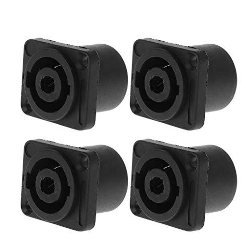 FlYHIGH 4 STÜCKE Jack Panel Socket Connector 4-poliger Audio-Lautsprecher Twist Lock Runde quadratische Halterung für Neutrik Speakon NL4MP NL4MPR NL4FC NL4FX NLT4X NL4 NL2FC NL2 - Vier Stück Panel
