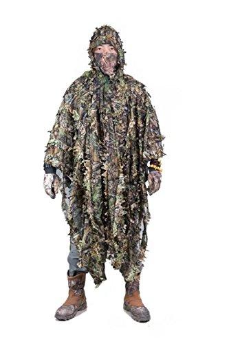 Outdoor 3D Blätter Camouflage Ghillie Poncho Camo Umhang Stealth Ghillie Anzug Military CS Woodland Jagd Kleidung Freie Größe (Ghillie Anzug Für Halloween)