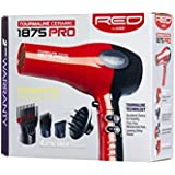 Kiss Products Red Ceramic Tourmaline Dryer With Attachment, 1.98 Pound