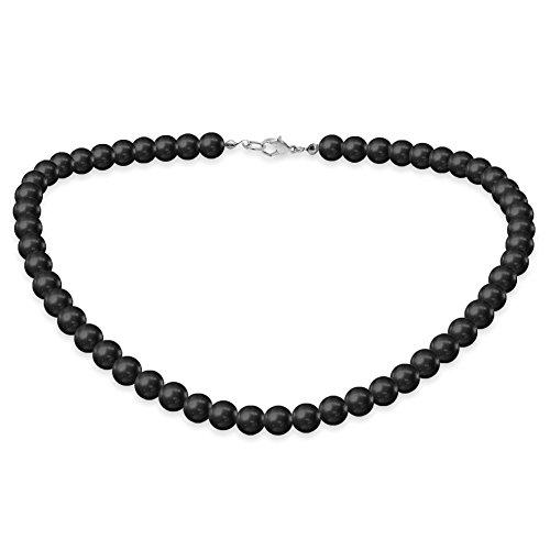 SoulCats Eine süße Kette Perlenkette Perlen viele Farben XXL kurz pink blau Creme, Farbe:Schwarz;Kettenlänge:42 cm - Perlen Kurz