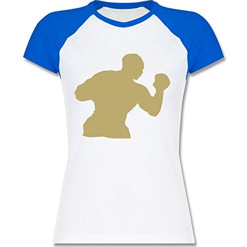 Kampfsport - Boxen - zweifarbiges Baseballshirt / Raglan T-Shirt für Damen Weiß/Royalblau