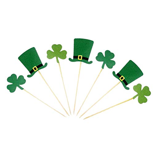 BESTOYARD St. Patricks Day Cake Topper Irish Festival Thema Klee und Hut Kuchen Picks für Party Dekoration 7 Stück