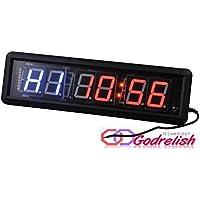 Godrelish LED Fitness Crossfit Intervall-Timer Stoppuhr Wanduhr mit IR-Fernbedienung