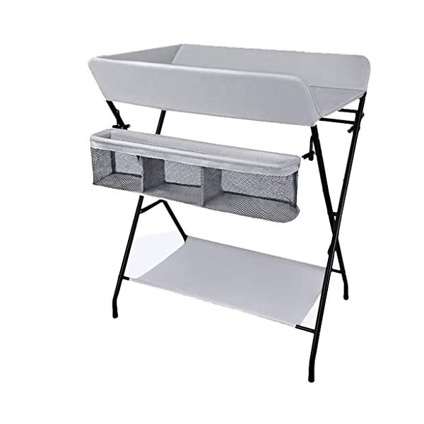 Folding Baby Changing Table for Small Spaces, Portable Nursery Infant Diaper Massage Station Dresser for Household Travel, Grey, 0-2 Years Old (color : B) AA-SS-Changing Table Stable Construction: Sturdy metal frame keep the table stable. While the other part is made of durable and wearable Oxford cloth. Folding: Easily fold it if you finish all the tasks! With its space saving design, you can store it behind a door. Large Storage Space: Equipped with 3 compartments aside the table, you can place soaps, towels and any other accessories conveniently. 1