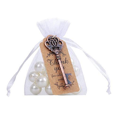 stikale Vintage Schlüssel Flaschenöffner mit Karte Tag und Sheer Tasche für Hochzeit Gefälligkeiten Baby Shower Favor Party Favor ()