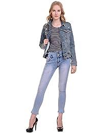 MansiCollections Distressed Detail Blue Denim Jacket for Women