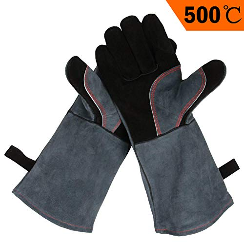 OZERO Guanti da barbecue in pelle, 932 °F Guanti estremamente resistenti al calore guanti da forno lunga 16inches, guanti da grill cucina grill Saldatura