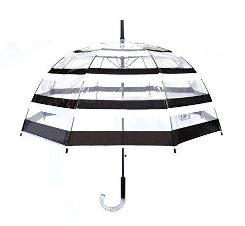 SMATI Parapluie transparant - rayé noir et blanc automatique - resistant au vent