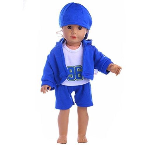 Mingfa, 18-Zoll Puppe Kleidung und Zubehör, 4Teile-T-Shirt mit Hose für American Girl Puppe, Our Generation