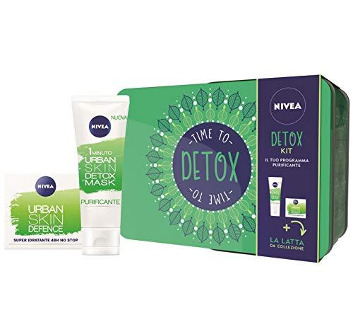 Nivea detox kit set regalo donna con nivea urban skin defence crema giorno 50 ml e nivea 1 minuto urban detox mask 75 ml