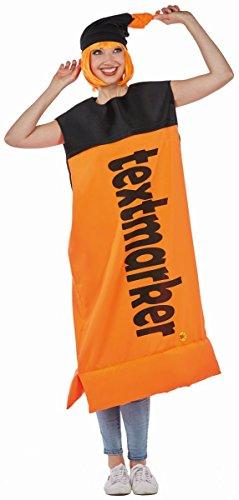 Rubie's Unisex Kostüm Textmarker in orange mit Mütze Karneval - Textmarker Kostüm